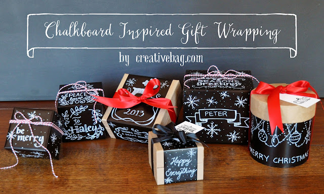 chalkboard inspired gift wrapping tutorial at creativebag.com