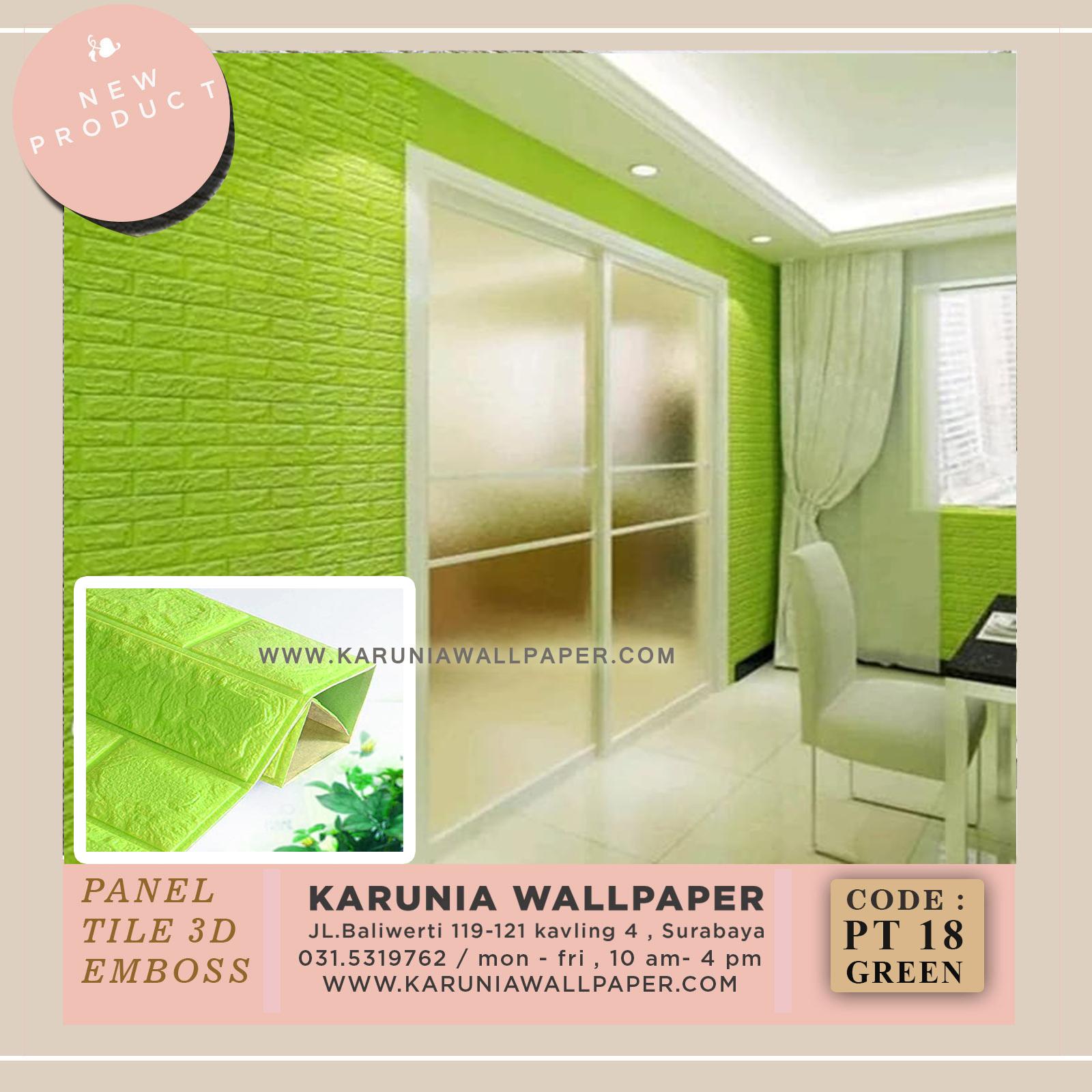 jual wallpaper batu bata hijau