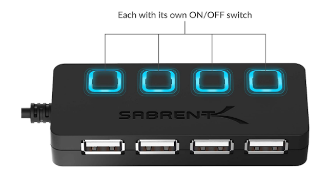 Sabrent 13 Port High Speed USB 2.0 Hub with Power Adapter And 2 Control...