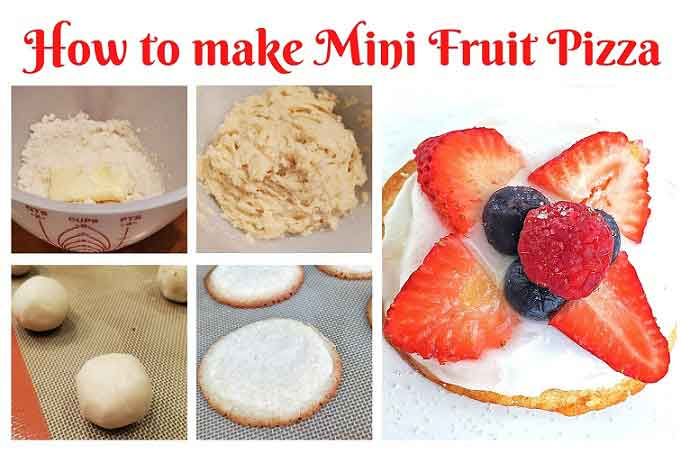 a collage of step by step how to make sugar cookie fruit pizzas