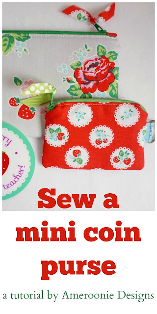 Tutorial for mini change pouch, makes great gifts for teachers or friends, or make for yourself to help organize your life