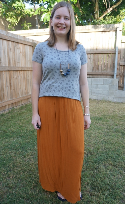 kmart statement necklace and grey leopard print tee outfit with ochre maxi skirt | away from the blue