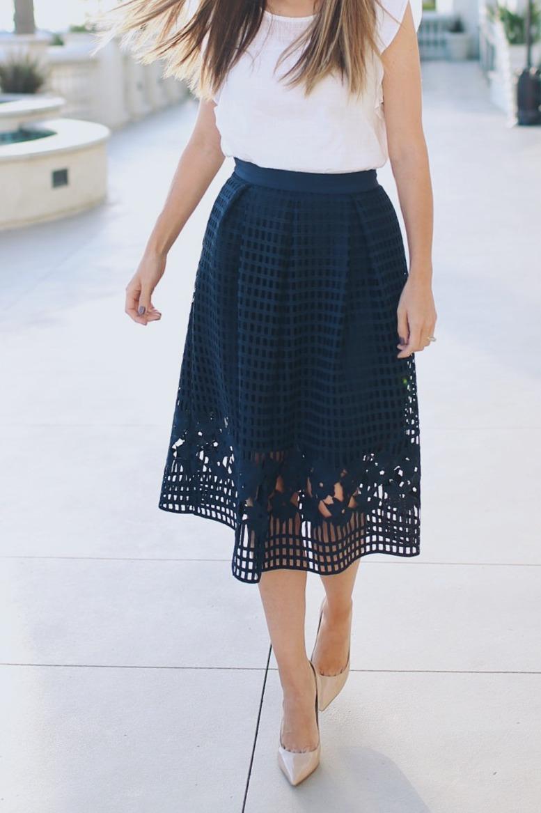 Asos Navy Mesh Pleated Skirt