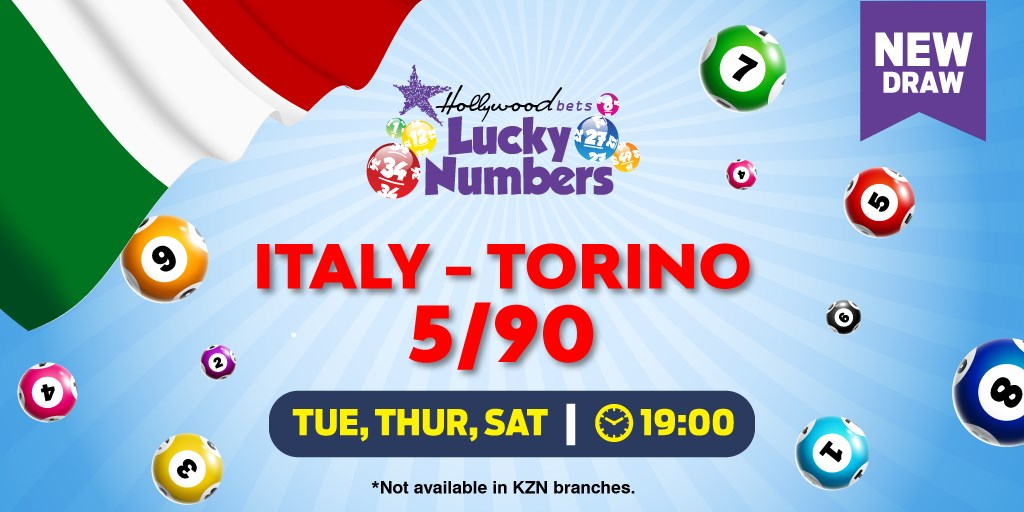 Torino Lotto 5/90 - Italy - Lucky Numbers - Hollywoodbets