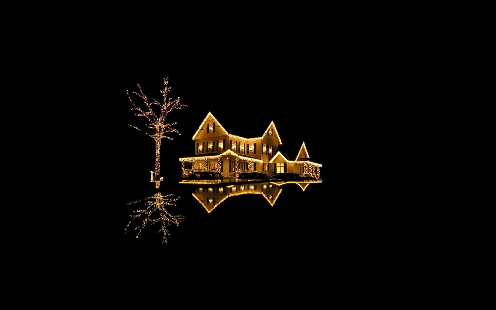 luci di natale, albero illuminato, casa illuminata, notte, buoi, nero