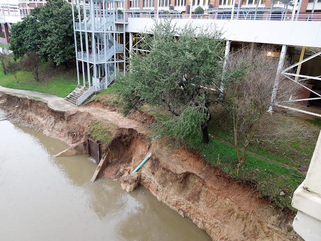 Washout - Buffalo Bayou bank erosion at UHD near Main Street Bridge