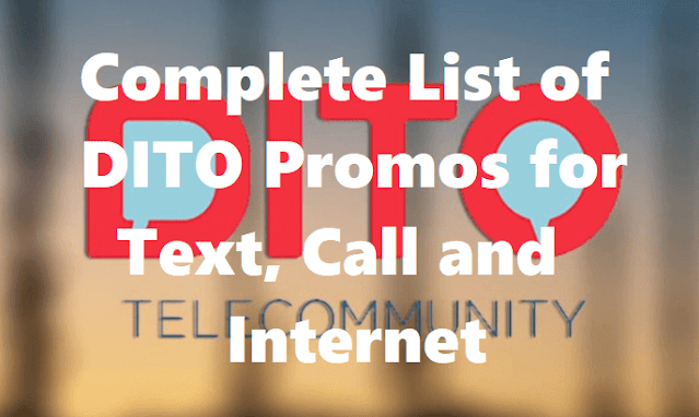 Complete List of DITO Promos