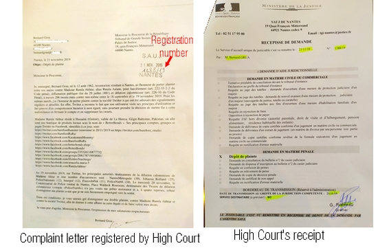 The accusation letter, with all the 296 tweets and with Twitter reports aknowledging Ramla Akhtar hate conduct against Bernard Grua are filed, now, at the High Court.