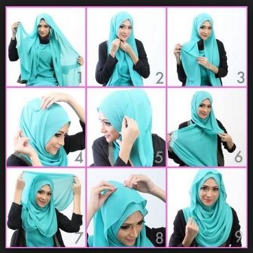 cara memakai jilbab pashmina tumpuk modern