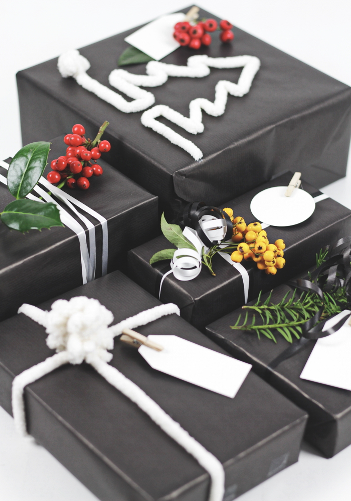 weihnachtsgeschenke verpacken ideen edel in schwarz. Black Bedroom Furniture Sets. Home Design Ideas