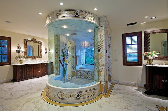 Luxury bathroom with circular bathtub