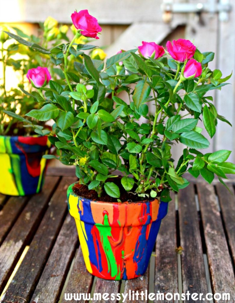 Pour painting flower pot spring activity for kids