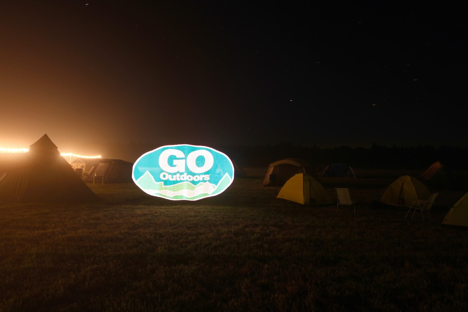GO Outdoors light up sign at the #GOcation