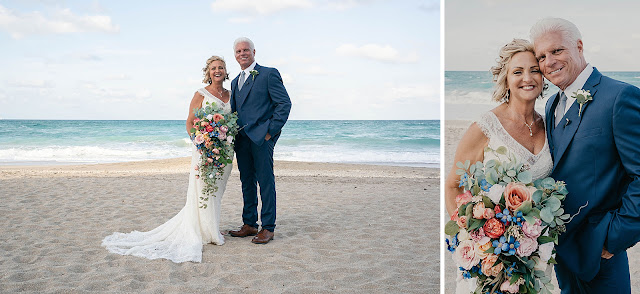 Bride and Groom on the beach with flower bouquet
