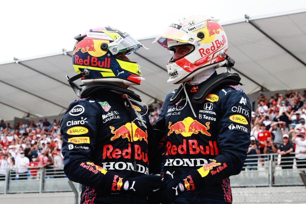 Foi o primeiro pódio compartilhado da formação Perez / Verstappen