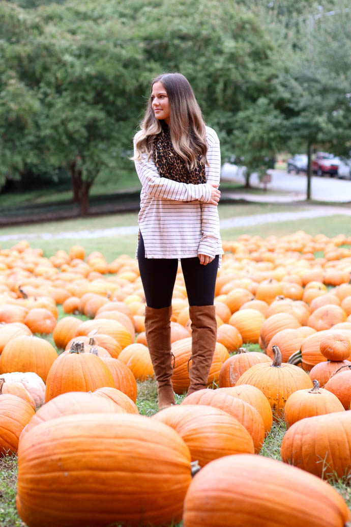 stripe shirt, leopard scarf, zella live in leggings, over the knee boots