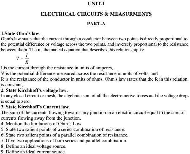 Basic Electrical Electronics Viva Short Questions and Answers PDF