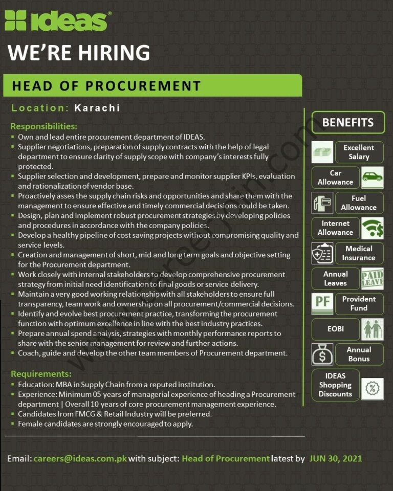 careers@idea.com.pk - Ideas by Gul Ahmed Jobs 2021 in Pakistan