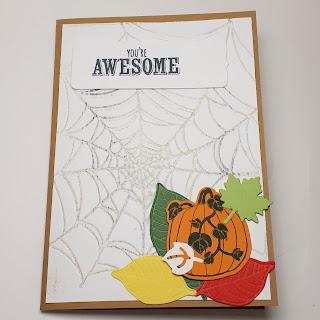 Gruselig-aufmunternde Herbstkarte mit Spinnennetz und Kürbis Stampin' Up www.eris-kreativwerkstatt.blogspot.de