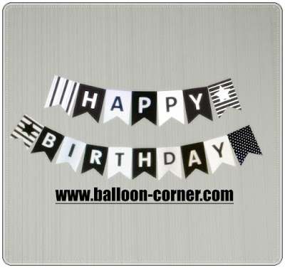 Bunting Flag Segilima HAPPY BIRTHDAY Warna Hitam Star
