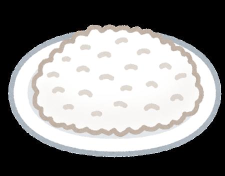 平皿に盛られたご飯のイラスト