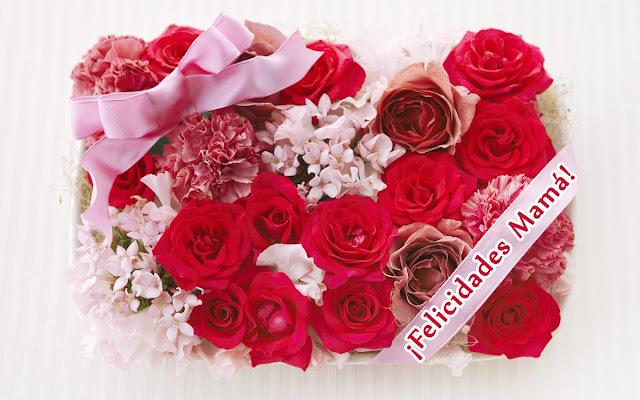Feliz día de la madre, imagen con ramos flores