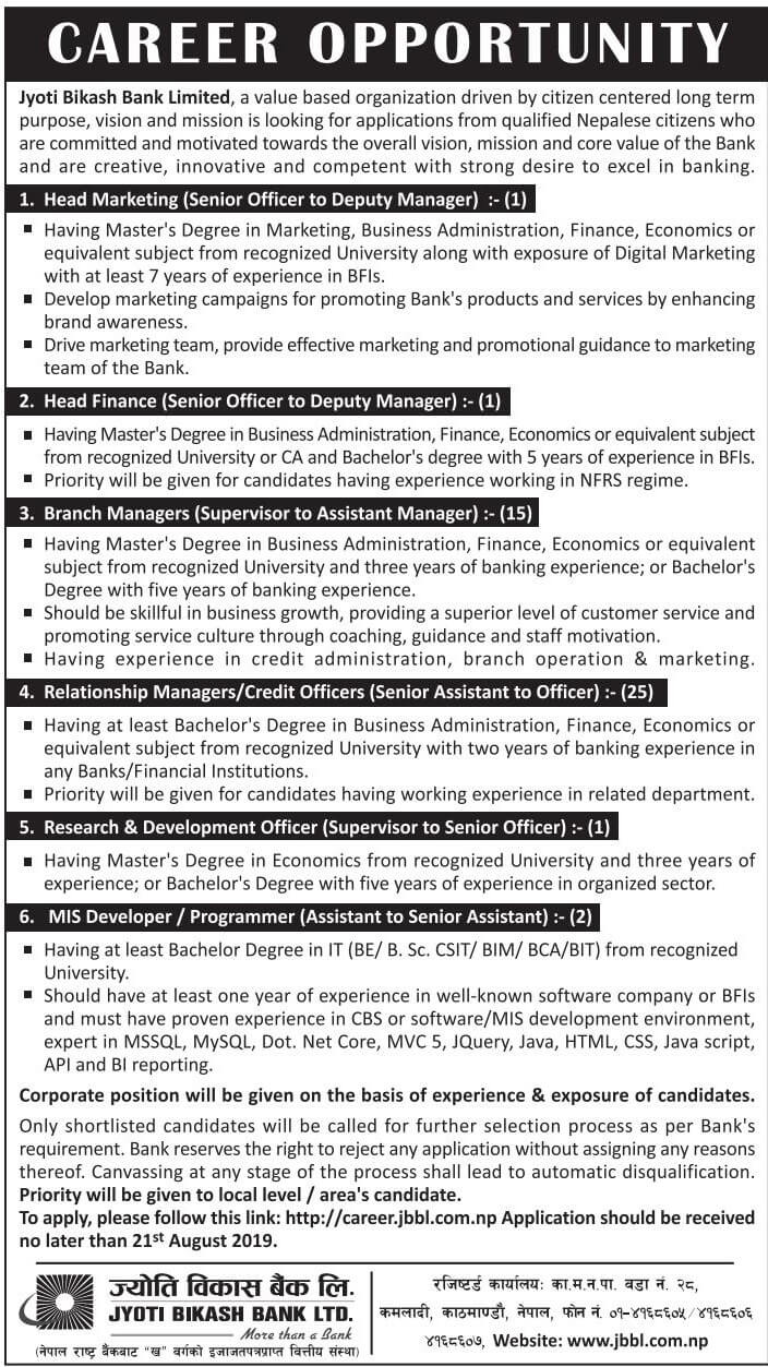 Career Opportunities at Bank