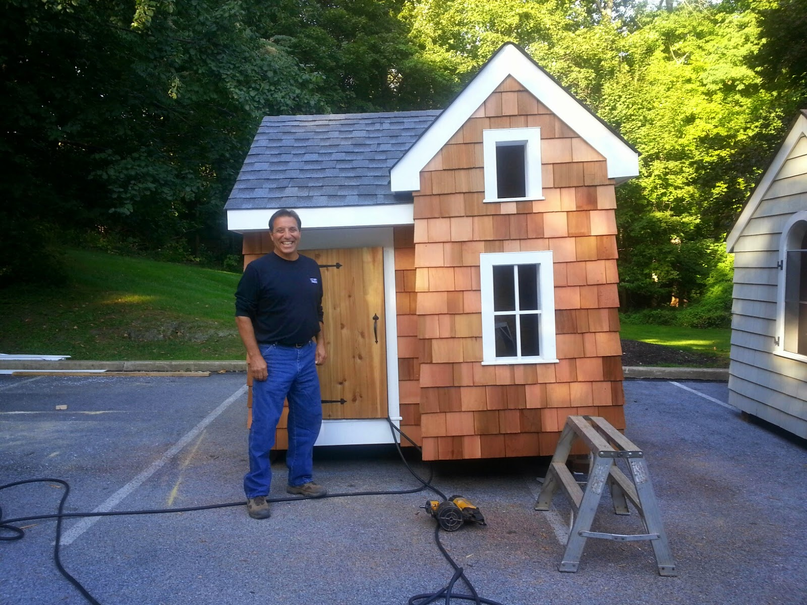 Pohlig Builders superintendent, Vince Massimini oversees the construction of the dream playhouses for the HBA of Chester and Delaware Counties Kenzie's Kure Playhouse Drawing
