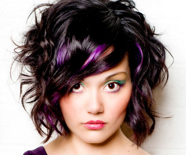Black Hair Purple Highlights Hairstyle Pictures