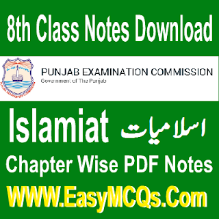8th PEC Islamiat Chapter No 3 Objective Type MCQs Notes In PDF Download