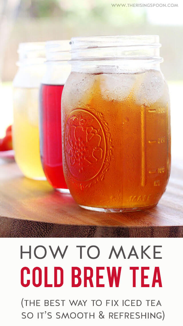Learn how to make the best cold brew tea at home with only a few minutes of prep! No fancy equipment required & the fridge does all the work. This recipe is so easy & simple you'll kick yourself for not trying it sooner. Make a batch today so you can sip on smooth, refreshing tea (with no bitterness) all week long