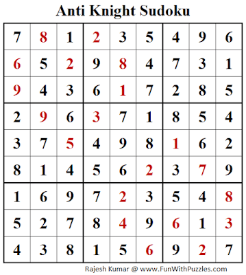 Answer of Anti Knight Sudoku Puzzle (Fun With Sudoku #299)