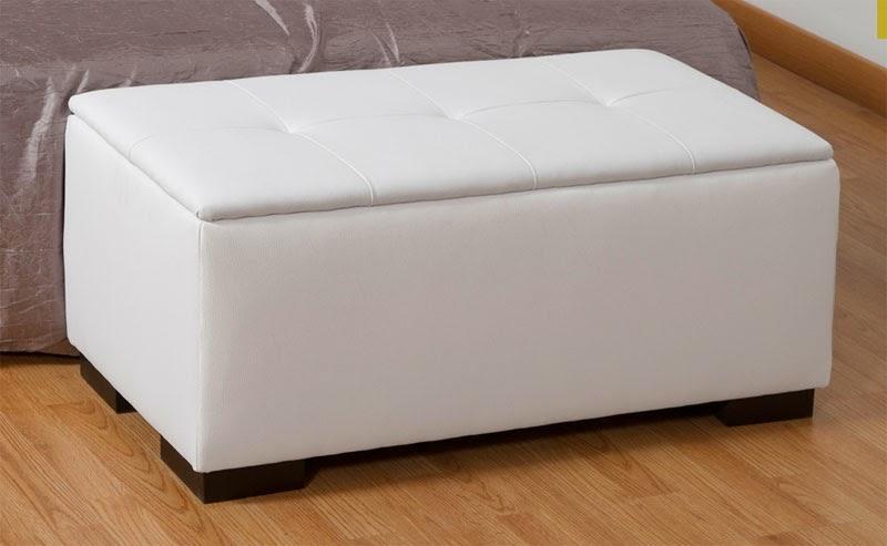 baul blanco poli piel, arcon dormitorio poli piel