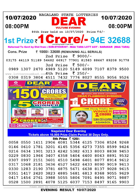Nagaland State Lottery Sambad 10-07-2020 Today Result 8 PM