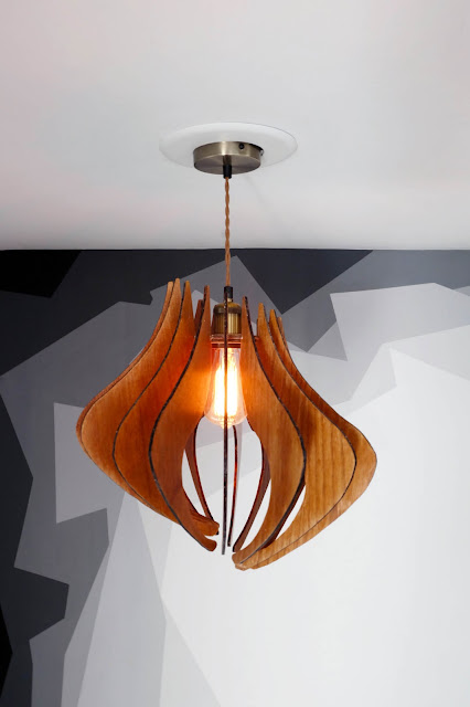 DIY pendant light fixture wood Edison bulb
