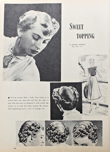 1950s vintage pin curl hair setting patter