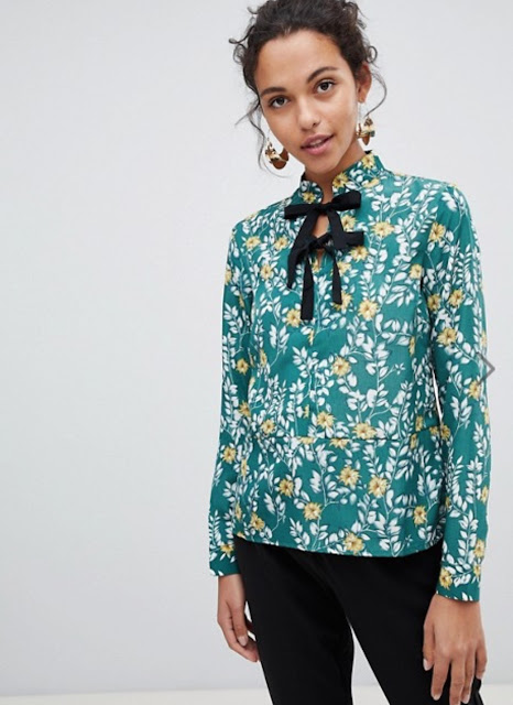 Vila Bow Detail Floral Top