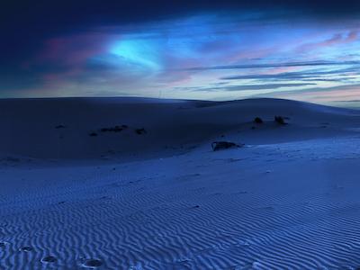 Sand dunes at night stock image
