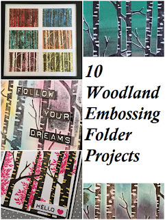 This picture shows an image showcasing 10 Woodland Textured Impressions Embossing Folder projects by Stampin' Up!