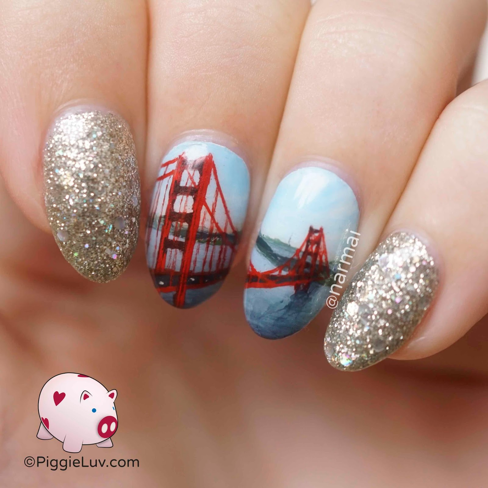 PiggieLuv: Golden Gate Bridge nail art
