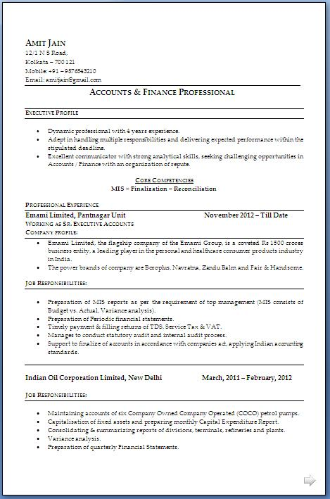 ca resume format download
