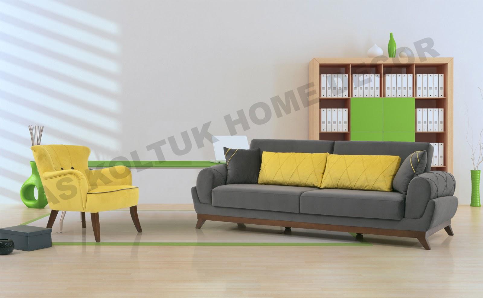 For Grey And Yellow Mustard Modern Sofa Set