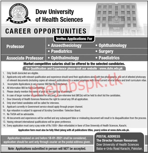 Latest Dow University of Health & Sciences Faculty Posts 2021