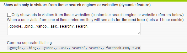 Ad Injection - Show ads only to visitors from search engines