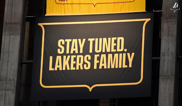 The Lakers' 2019-'20 championship banner will be raised at STAPLES Center once fans are allowed to return to the arena to watch this moment in person.