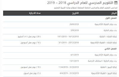 التقويم الدراسي 2018-2019 الامارات