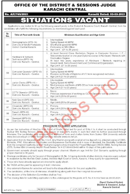 District & Session Courts Karachi Jobs 2021