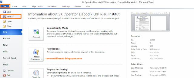 Cara Mudah Merubah File Word Surat Penugasan Operator Sekolah ke PDF