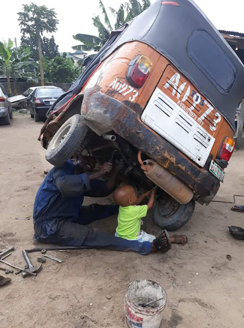 See Two-Year-Old Baby Boy Working As Mechanic