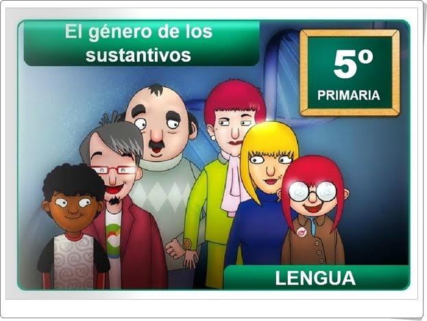 """""""El género de los sustantivos"""" (Aplicación interactiva de Lengua Española de Primaria)"""